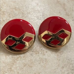 Vintage red/gold round earrings